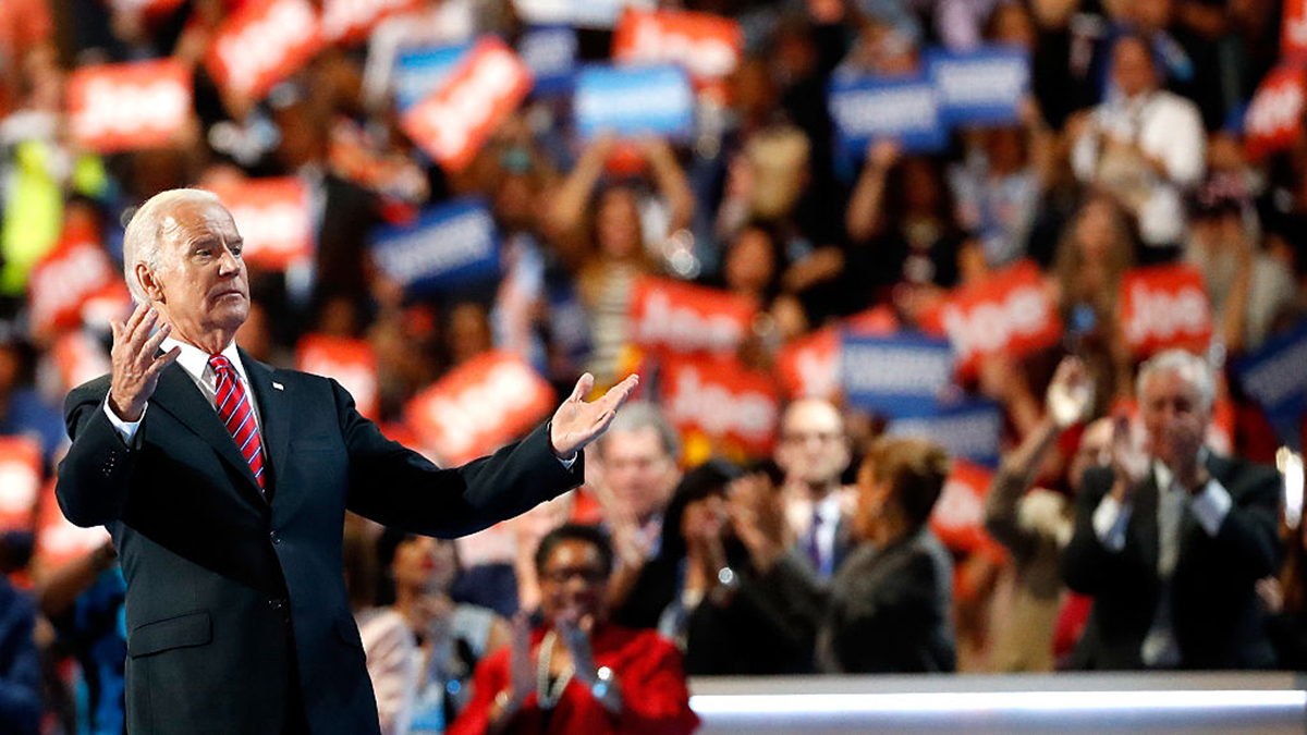 US Vice President Joe Biden acknowledges the crowd after delivering remarks on the third day of the Democratic National Convention at the Wells Fargo Center, July 27, 2016 in Philadelphia, Pennsylvania.