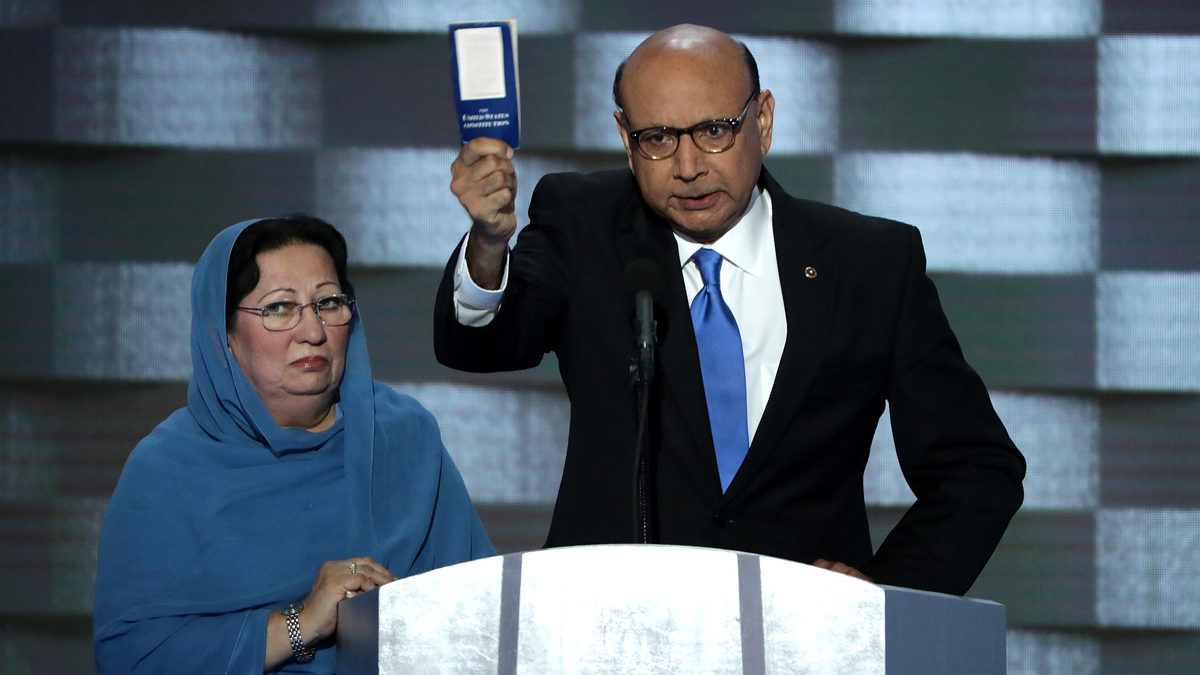 Khizr Khan, father of deceased Muslim U.S. Soldier Humayun S. M. Khan, holds up a booklet of the US Constitution as he delivers remarks on the fourth day of the Democratic National Convention at the Wells Fargo Center, July 28, 2016, in Philadelphia, Pennsylvania.