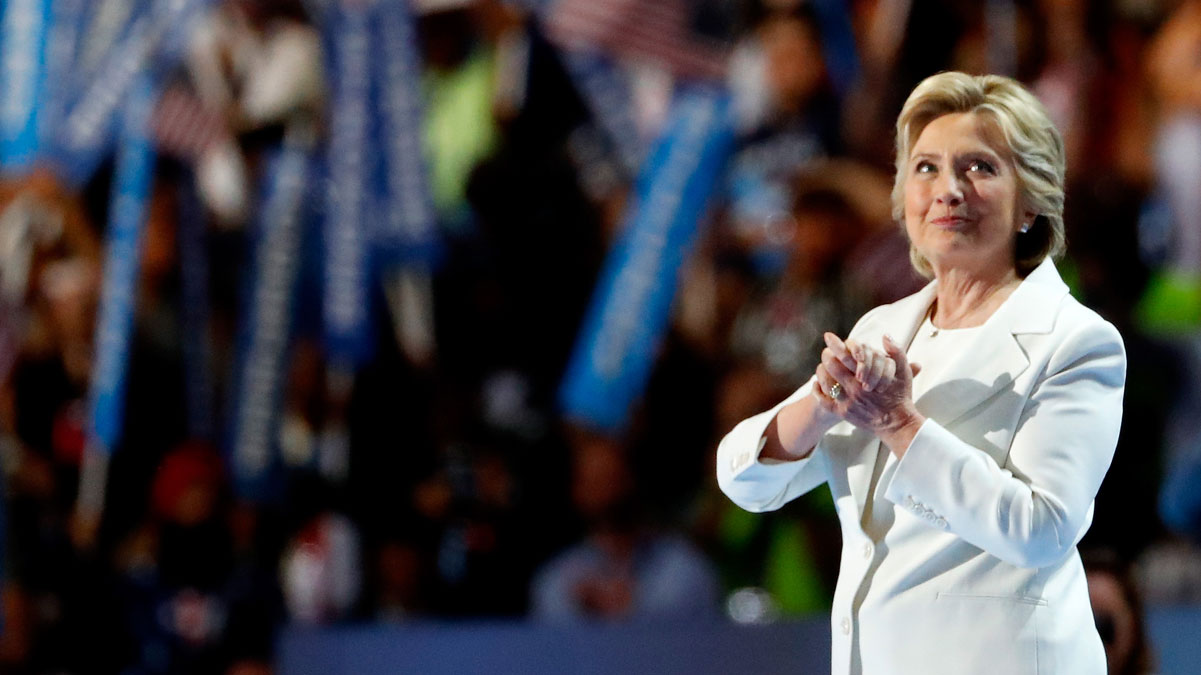 Democratic presidential candidate Hillary Clinton acknowledges the crowd at the end on the final day of the Democratic National Convention at the Wells Fargo Center, July 28, 2016 in Philadelphia, Pennsylvania.
