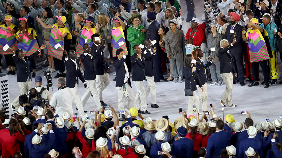 Members of the Refugee Olympic Team take part in the Opening Ceremony of the Rio 2016 Olympic Games at Maracana Stadium on Aug. 5, 2016 in Rio de Janeiro, Brazil.