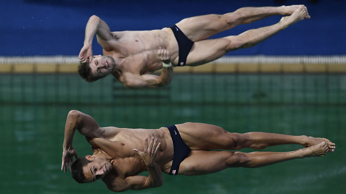 Sam Dorman and Mike Hixon compete in the Men's Synchronized 3m Springboard Final during the diving event at the Rio 2016 Olympic Games at the Maria Lenk Aquatics Stadium in Rio de Janeiro on Aug. 10, 2016.