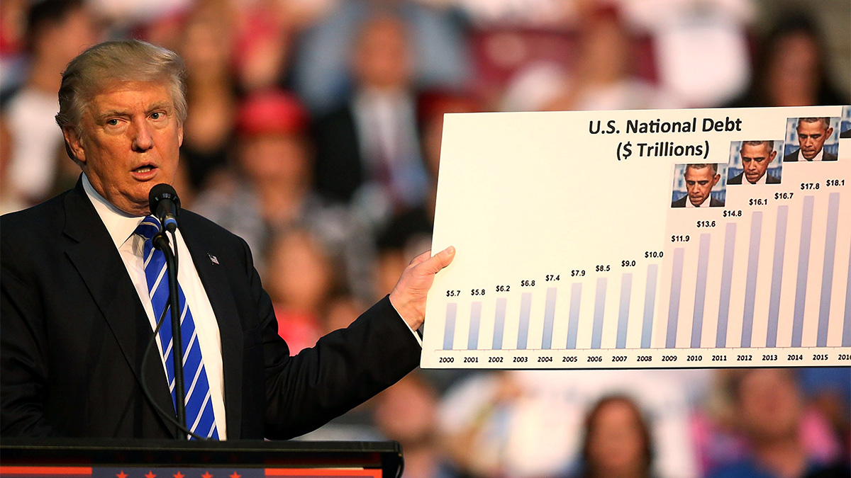 Donald Trump holds up a chart as he speaks during his campaign event at the BB&T Center on Aug. 10, 2016, in Fort Lauderdale, Florida. During the even, Trump reiterated his belief that President Barack Obama founded ISIS, a lie no matter what angle considered.