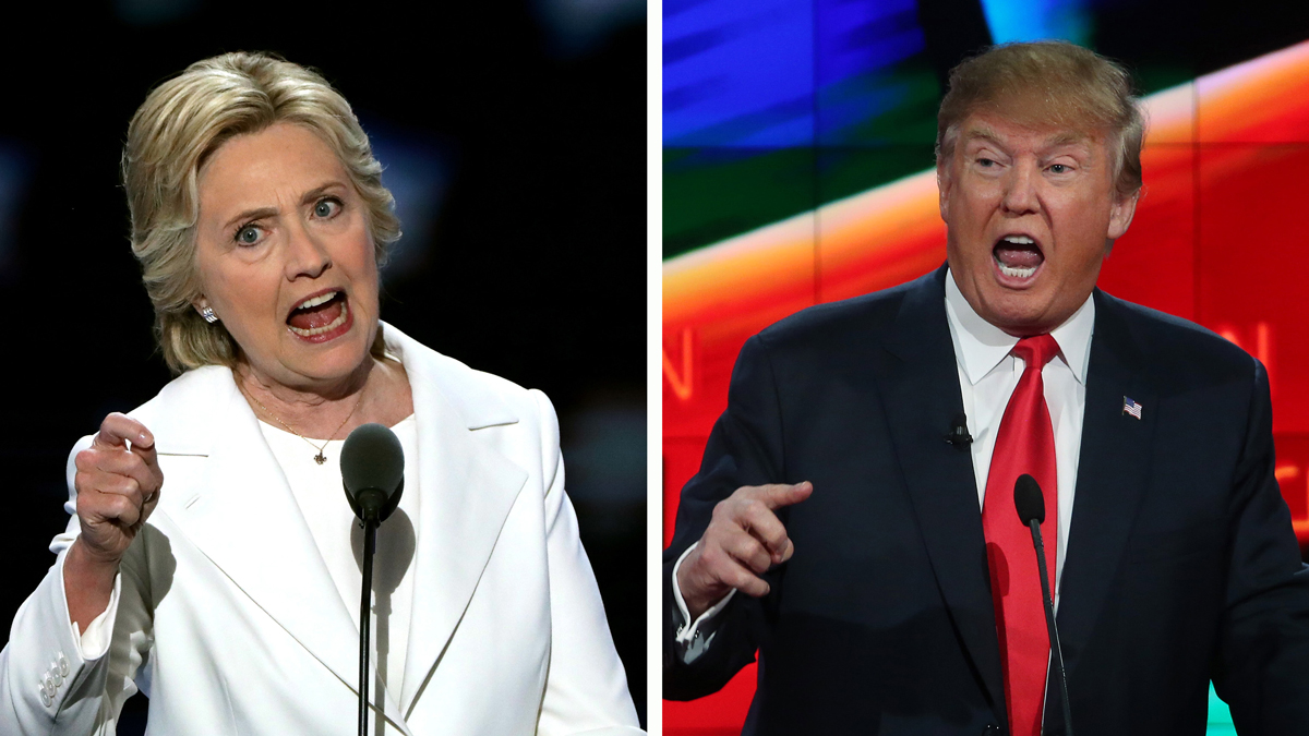 (FILE PHOTO) In this composite image a comparison has been made between US Presidential Candidates Hillary Clinton (L) and Donald Trump.