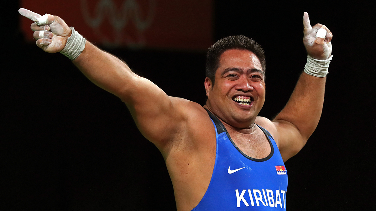 David Katoatau of Kiribati reacts during the Men's 105kg Group B Weightlifting event on Day 10 of the Rio 2016 Olympic Games at Riocentro - Pavilion 2 on August 15, 2016 in Rio de Janeiro, Brazil.