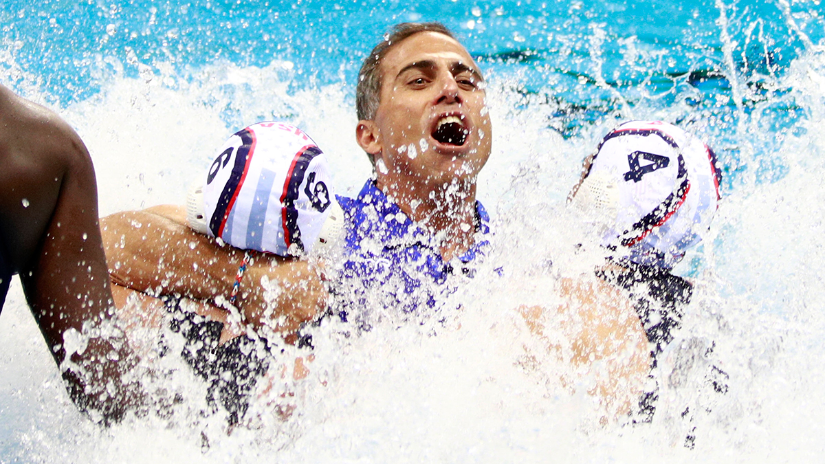 RIO DE JANEIRO, BRAZIL - AUGUST 19: Adam Krikorian, coach of the United States, is thrown into the water after winning the Women's Water Polo Gold Medal Classification match between the United States and Italy on Day 14 of the Rio 2016 Olympic Games at the Olympic Aquatics Stadium on August 19, 2016 in Rio de Janeiro, Brazil. (Photo by Adam Pretty/Getty Images)
