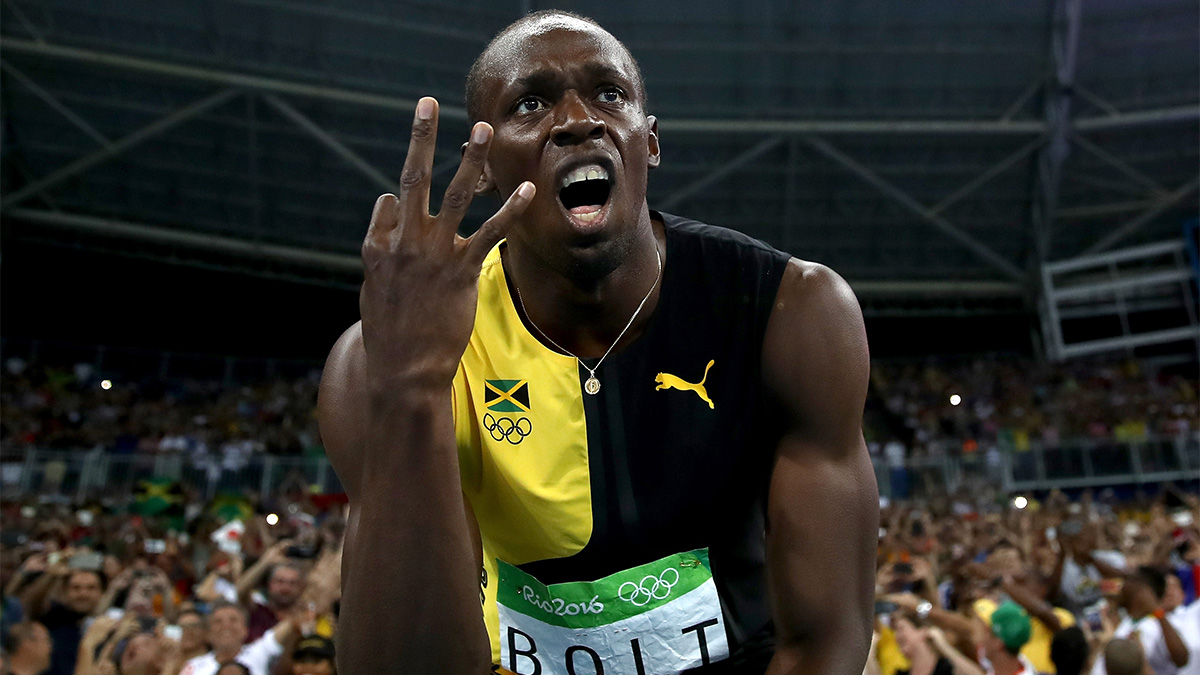 Usain Bolt of Jamaica celebrates after winning the men's 4 x 100m relay final on day 14 of the Rio 2016 Olympic Games at the Olympic Stadium on Aug. 19, 2016, in Rio de Janeiro, Brazil.