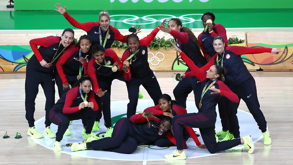 RIO DE JANEIRO, BRAZIL - AUGUST 20: Gold medalists Team USA celebrate during the medal ceremony after the Women's Basketball competition on Day 15 of the Rio 2016 Olympic Games at Carioca Arena 1 on August 20, 2016 in Rio de Janeiro, Brazil. (Photo by Sean M. Haffey/Getty Images)