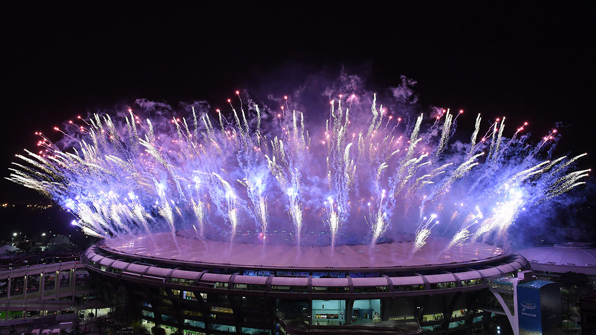Fireworks explode at the end of the closing ceremony of the Rio 2016 Olympic Games at the Maracana stadium in Rio de Janeiro on Aug. 21, 2016.