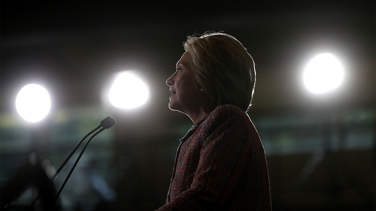 In this Sept. 15, 2016, file photo, Hillary Clinton speaks during a campaign rally at UNC Greensboro.