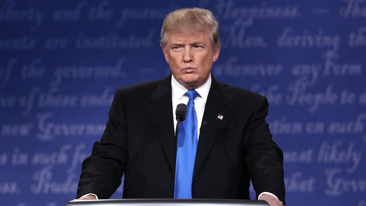 Republican presidential nominee Donald Trump speaks during the Presidential Debate at Hofstra University on September 26, 2016 in Hempstead, New York.