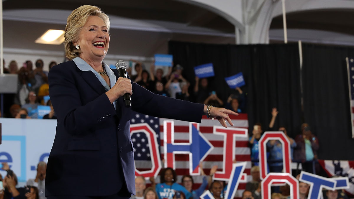 Democratic presidential nominee Hillary Clinton speaks during a campaign rally at Goodyear Hall and Theatre on Oct. 3, 2016, in Akron, Ohio.