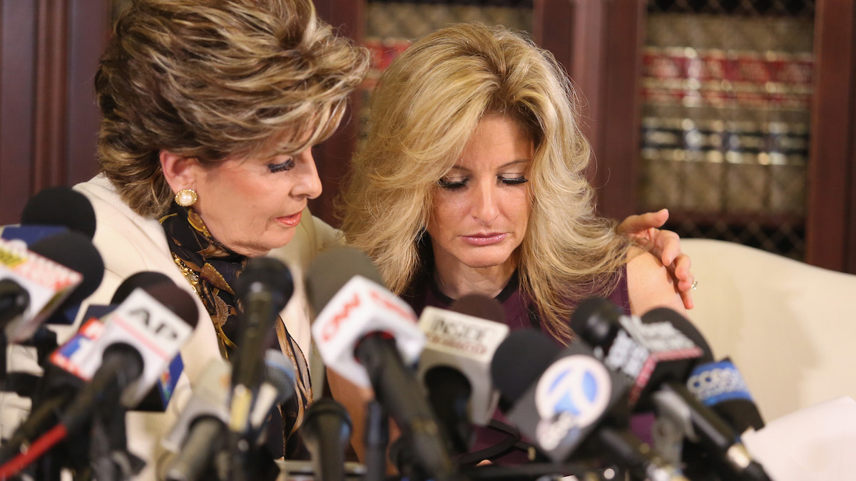 Attorney Gloria Allred (L) holds a press conference with Summer Zervos, a former candidate on The Apprentice season five, who is accusing Donald Trump of inappropriate sexual conduct October 14, 2016 in Los Angeles, California. This is the first time the accuser has spoken publicly about the alleged incident.