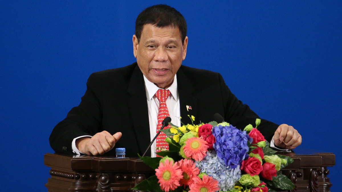 Philippines President Rodrigo Duterte makes a speech during the Philippines - China Trade and Investment Fourm at the Great Hall of the People on October 20, 2016 in Beijing, China. Philippine President Rodrigo Duterte is on a four-day state visit to China, his first since taking power in late June, with the aim of improving bilateral relations.