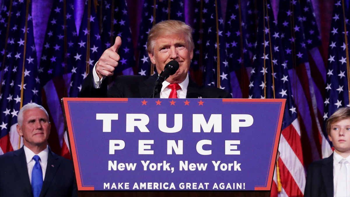 Republican president-elect Donald Trump gives a thumbs up to the crowd during his acceptance speech at his election night event at the New York Hilton Midtown in the early morning hours of Wednesday, November 9, 2016. Donald Trump defeated Democratic presidential nominee Hillary Clinton to become the 45th president of the United States. (Photo by Chip Somodevilla/Getty Images)