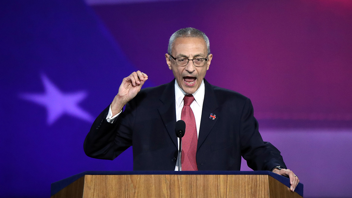 Campaign chairman John Podesta speaks on stage at Democratic presidential nominee former Secretary of State Hillary Clinton's election night event at the Jacob K. Javits Convention Center November 9, 2016 in New York City.