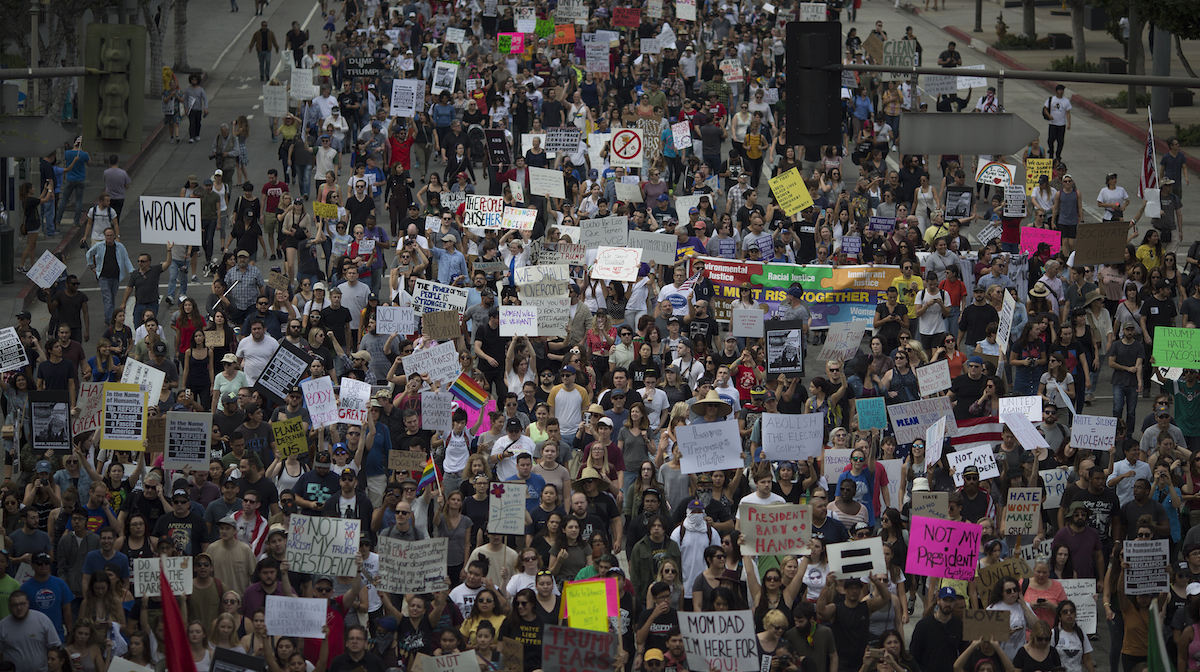 Thousands of protesters march in reaction to the upset election of Republican Donald Trump over Democrat Hillary Clinton in the race for President of the United States on November 12, 2016 in Los Angeles