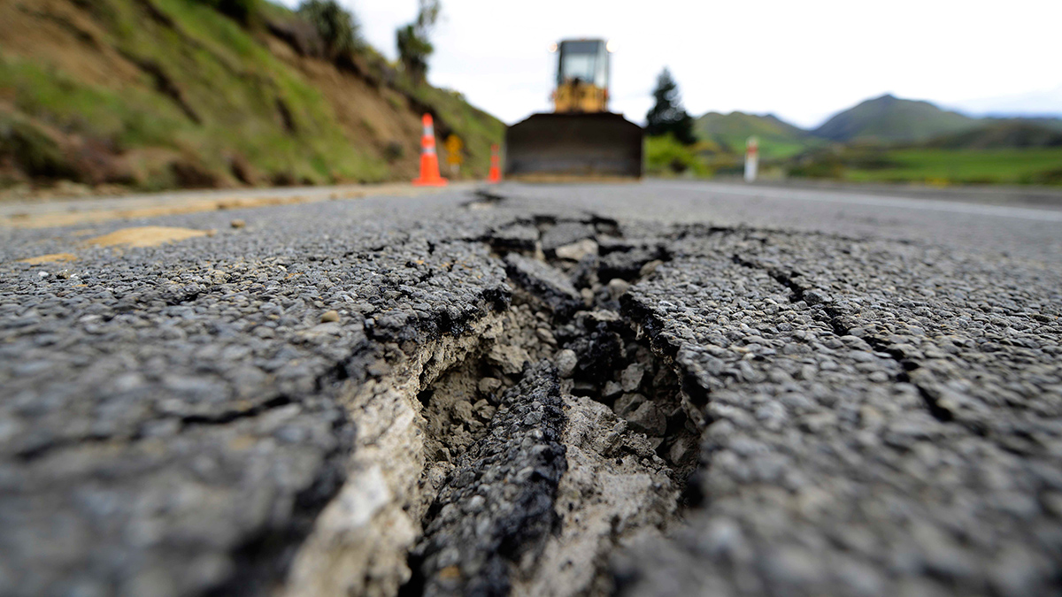 HANMER SPRINGS, NEW ZEALAND - NOVEMBER 14: Large cracks are seen on Highway 7 following a 7.8 magnitude earthquake on November 14, 2016 near Hanmer Springs, New Zealand. The 7.8 magnitude earthquake struck 20km south-east of Hanmer Springs at 12.02am and triggered tsunami warnings for many coastal areas. (Photo by Matias Delacroix/Getty Images)