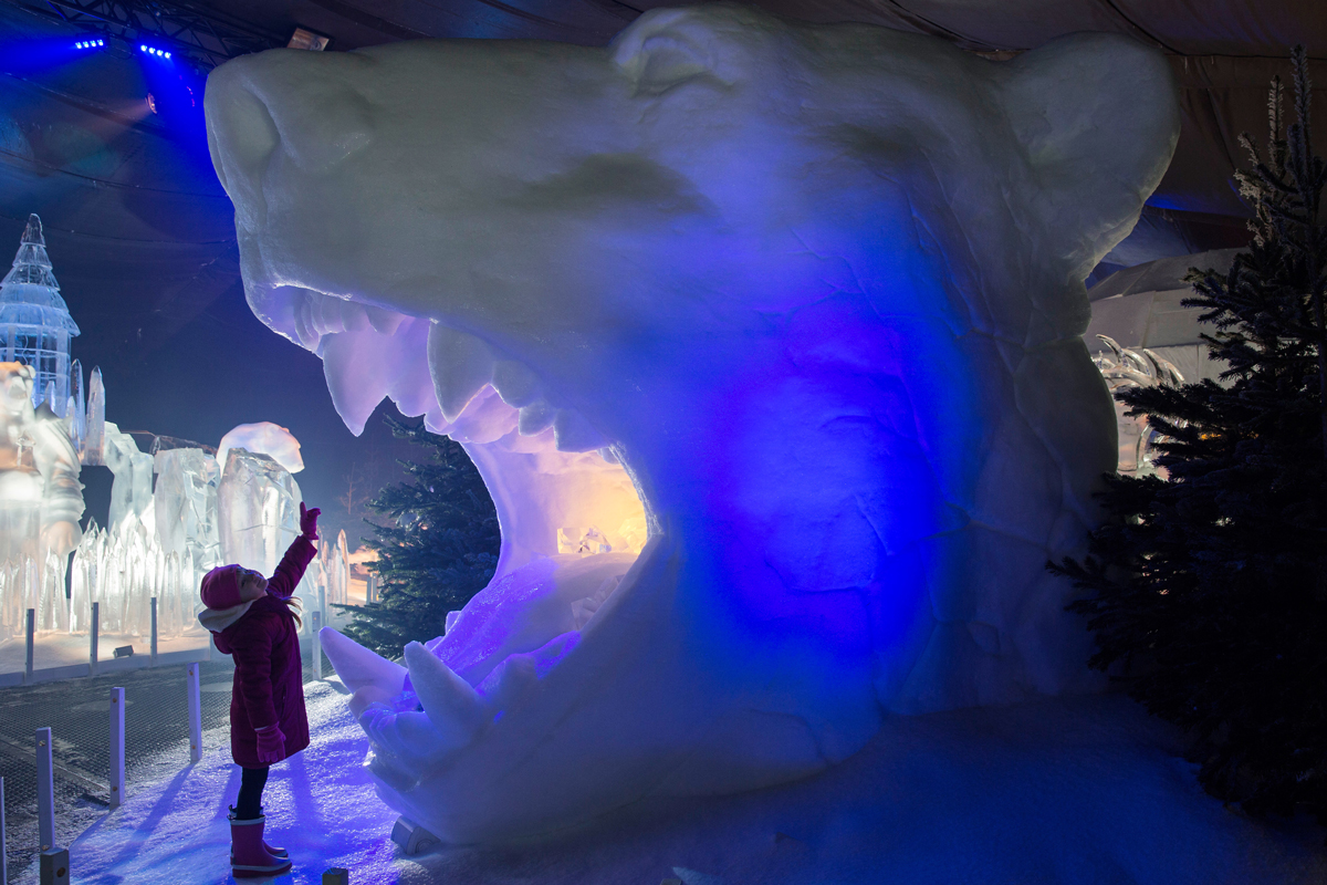 Scarlett Airey, 4, views ice and snow sculptures during a photocall for Magical Ice Kingdom at Hyde Park Winter Wonderland at Hyde Park on Nov. 17, 2016, in London, England.