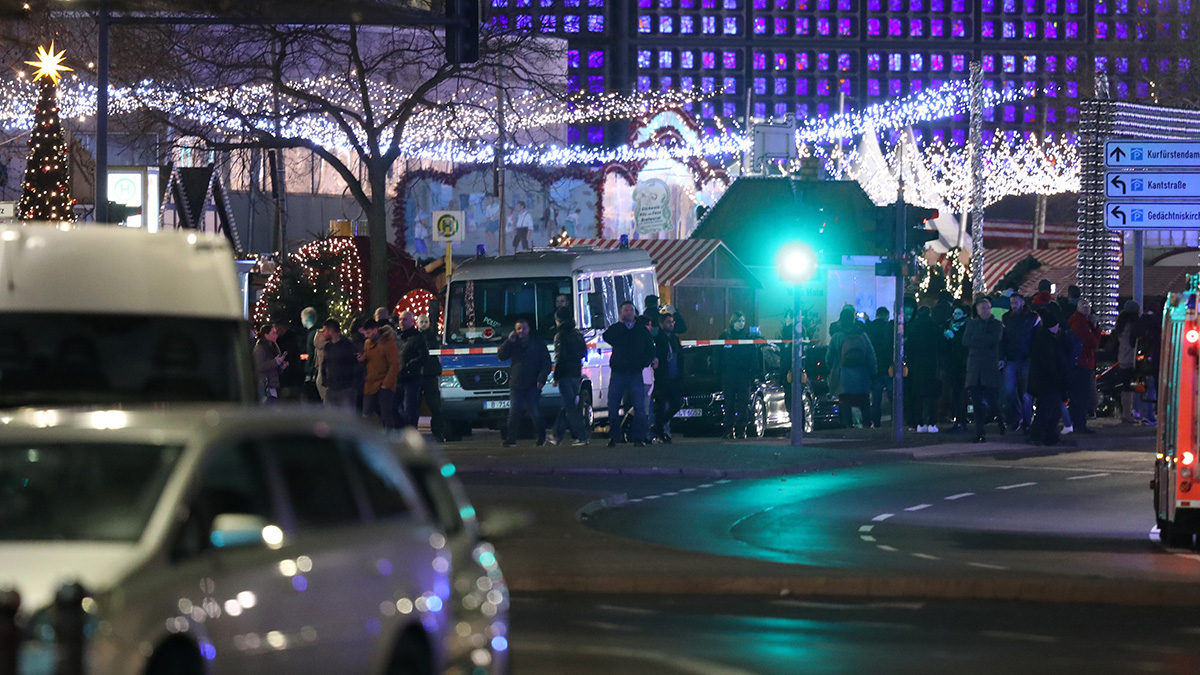 Rescue workers arrive to the area after a lorry truck plowed through a Christmas market on Dec. 19, 2016 in Berlin, Germany. Several people died while dozens were injured as police investigate the attack at a market outside the Kaiser Wilhelm Memorial Church on the Kurfuerstendamm and whether it is linked to a terrorist plot.