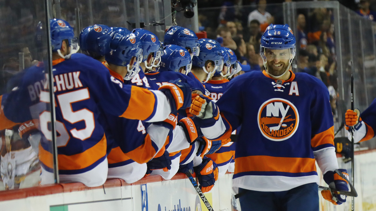Andrew Ladd #16 of the New York Islanders celebrates his goal at 5:35 of the third period against the Buffalo Sabres at the Barclays Center on December 23, 2016 in the Brooklyn borough of New York City.