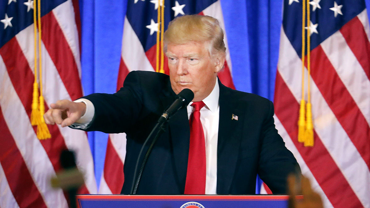 In this file photo, then President-elect Donald Trump speaks at a news conference at Trump Tower on Jan. 11, 2017, in New York City.