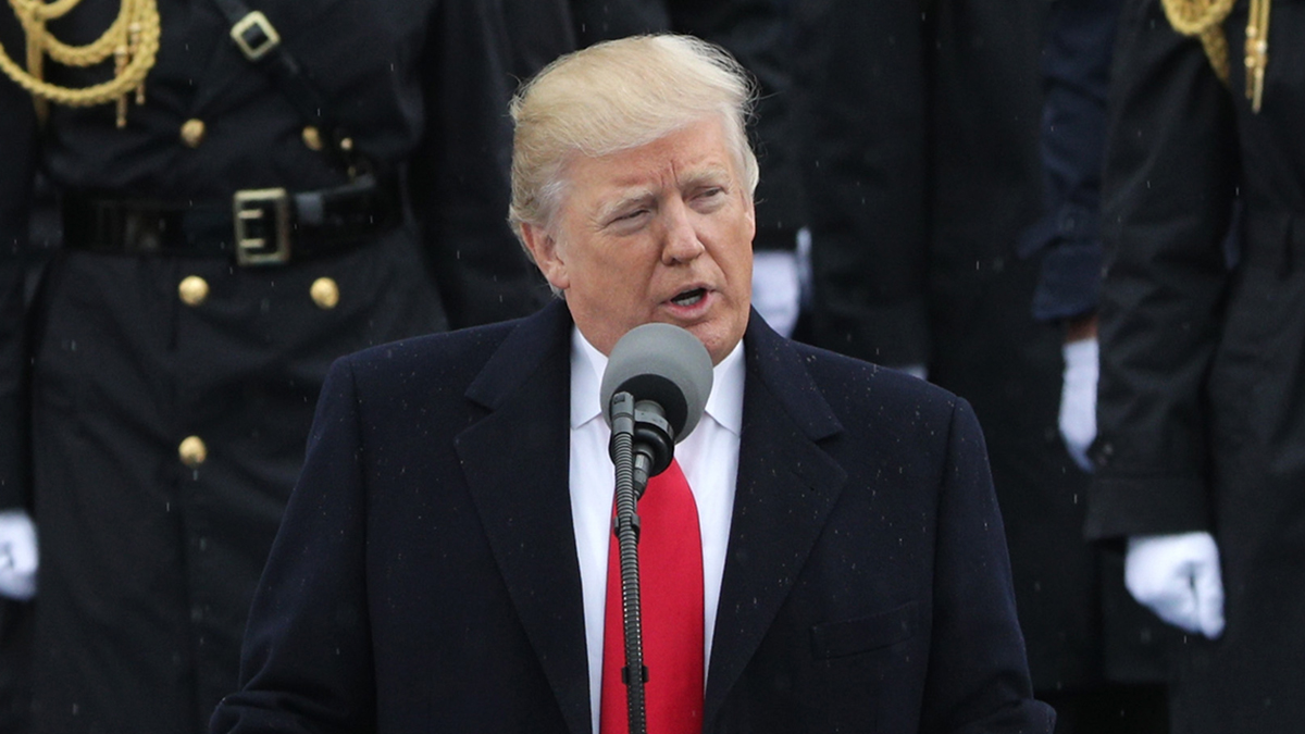 President Donald Trump delivers his inaugural address on the West Front of the U.S. Capitol on Jan. 20, 2017 in Washington, D.C.