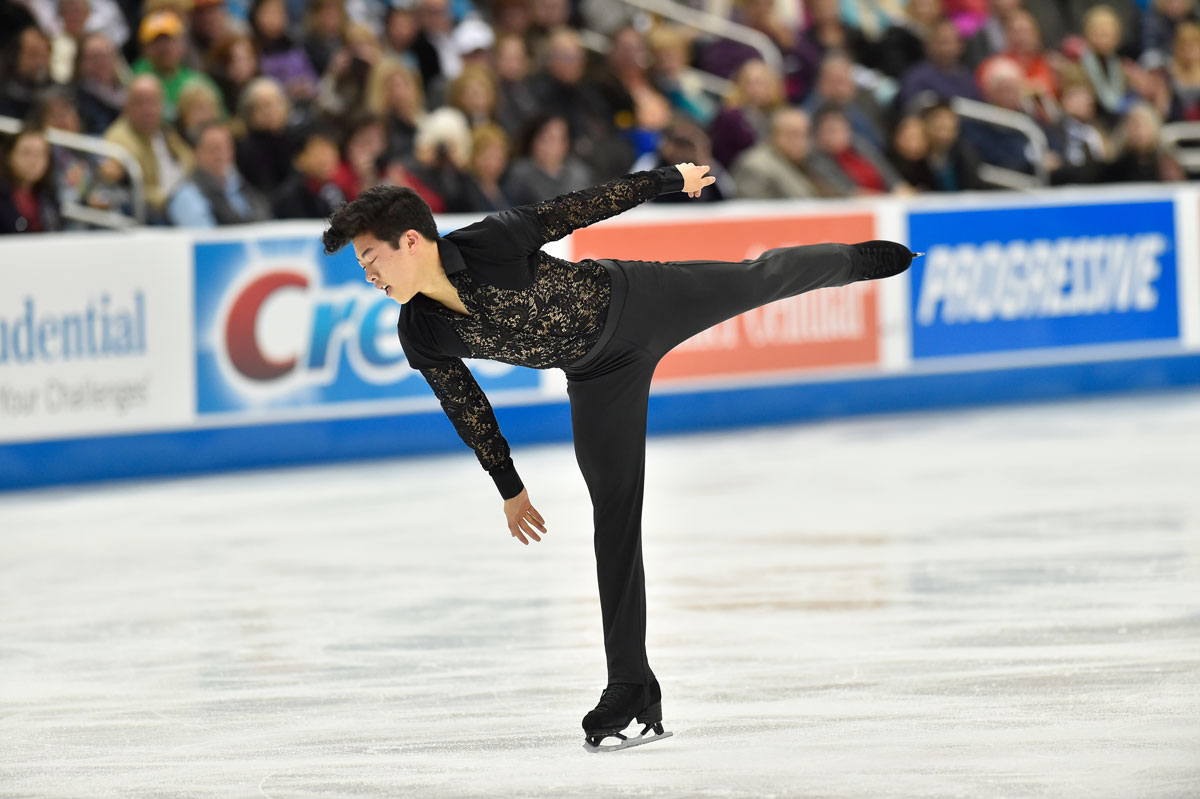 Nathan Chen skates his routine that would earn him first place in the short routine championship on Day 2 at the 2017 US Figure Skating Championships on Jan. 20, 2017 at the Sprint Center in Kansas City, Missouri.