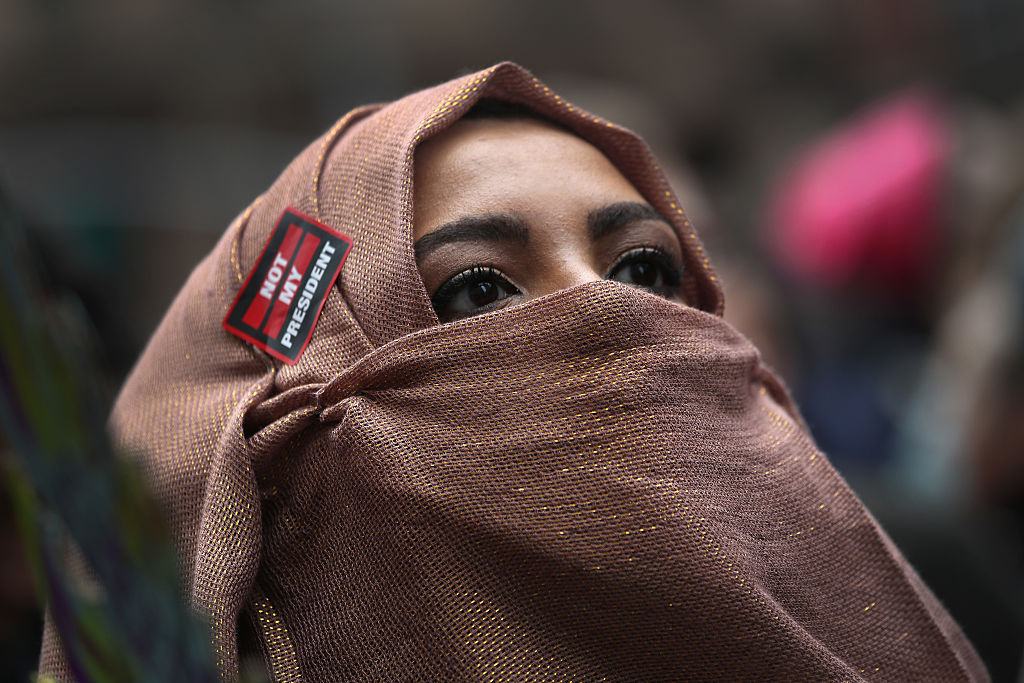 A Muslim American marches during the Women's March on January 21, 2017 in New York City.