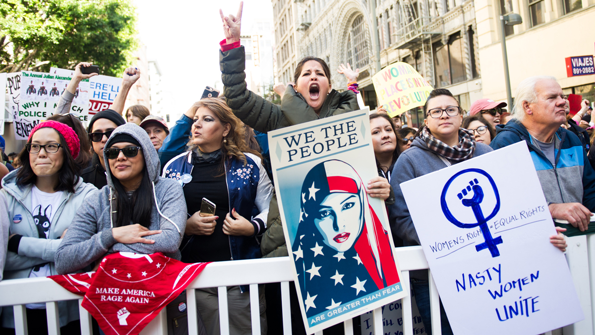 A view of protestors at the women's march in Los Angeles on Jan. 21, 2017, in Los Angeles, California.