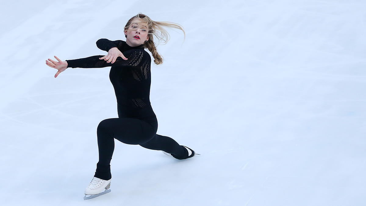 In this Feb. 8, 2017 file photo, 2018 Olympic hopeful Gracie Gold skates during NBC's