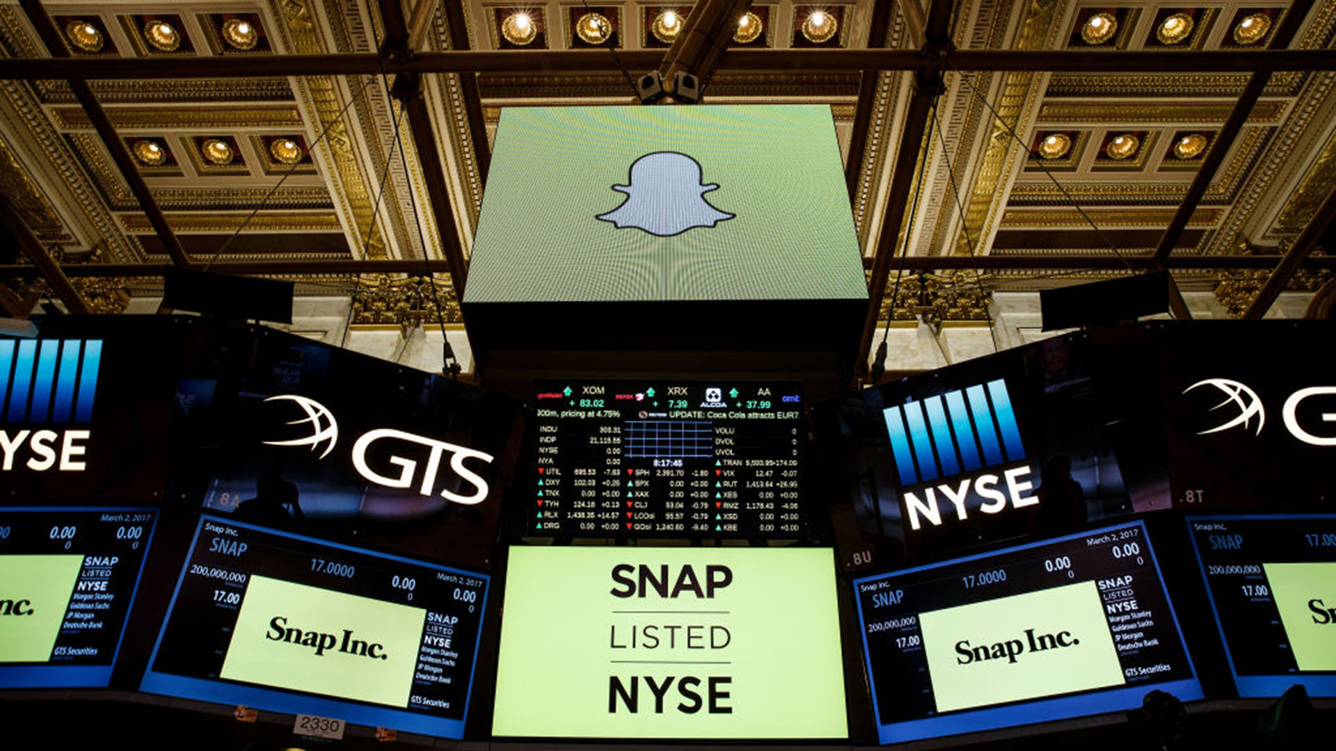 NEW YORK, NY - MARCH 2: Signage for Snap Inc., parent company of Snapchat, is displayed on monitors on the floor New York Stock Exchange (NYSE) before the opening bell, March 2, 2017 in New York City. Snap Inc. priced its initial public offering at $17 a share on Wednesday and Snap shares will start trading on the New York Stock Exchange (NYSE) on Thursday. (Photo by Drew Angerer/Getty Images)