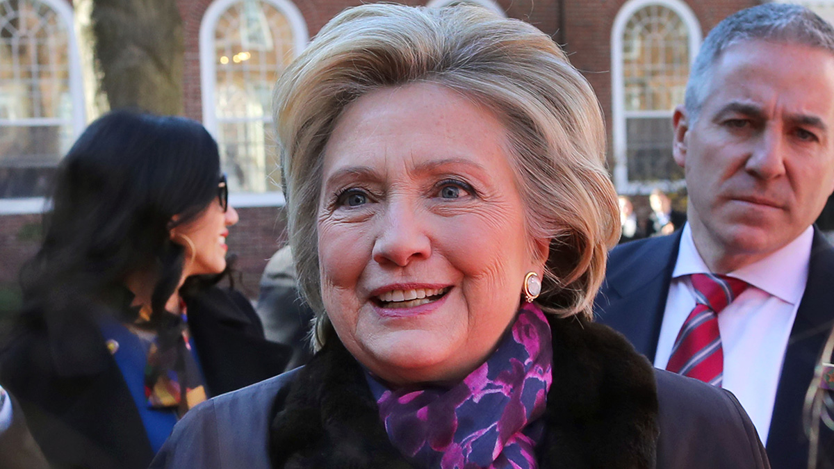 Former presidential candidate Hillary Clinton leaves the Kirkland House at Harvard University in Cambridge, MA where she spoke to students on Mar. 3, 2017.