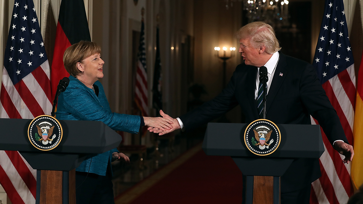 U.S. President Donald Trump shakes hands with German Chancellor Angela Merkel during a joint press conference in the East Room of the White House on March 17, 2017 in Washington, DC.