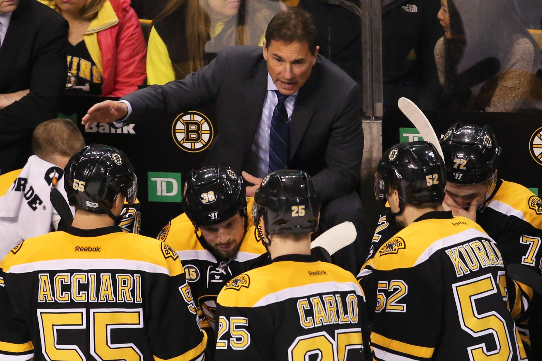 BOSTON, MA - APRIL 6: Boston Bruins head coach Bruce Cassidy speaks with his team during a timeout during the third period against the Ottawa Senators at TD Garden on April 6, 2017 in Boston, Massachusetts. (Photo by Maddie Meyer/Getty Images)