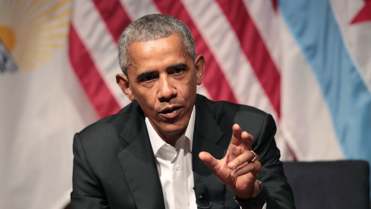 Former President Barack Obama visits with youth leaders at the University of Chicago to help promote community organizing on April 24, 2017 in Chicago, Illinois.