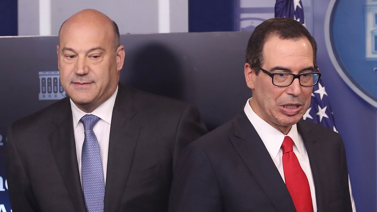 National Economic Director Gary Cohn, left, and Secretary of the Treasury Steven Mnuchin speak during a briefing about President Trump's new tax plan, at the White House, on April 26, 2017, in Washington, D.C.