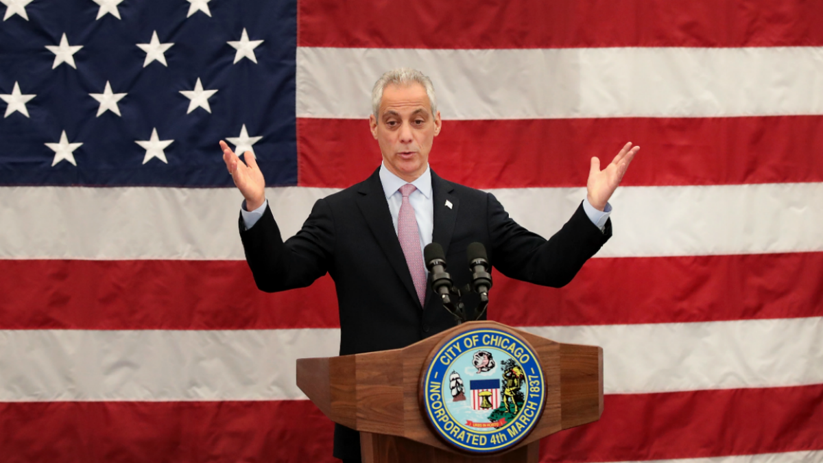 Chicago Mayor Rahm Emanuel speaks at a naturalization ceremony on May 5, 2017 in Chicago, Illinois. Eight people, all of whom immigrated from Mexico, were sworn in as U.S. citizens at the ceremony.