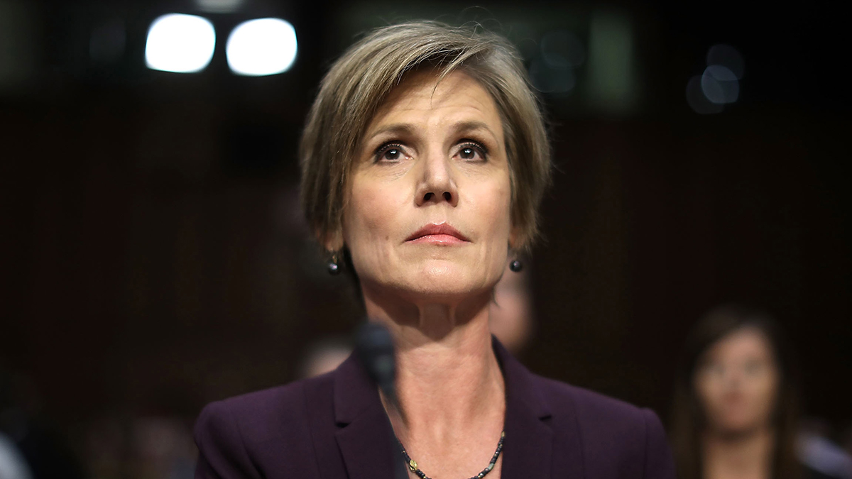 Former acting U.S. Attorney General Sally Yates testifies before the Senate Judiciary Committee's Subcommittee on Crime and Terrorism in the Hart Senate Office Building on Capitol Hill May 8, 2017, in Washington, DC. Before being fired by U.S. President Donald Trump, Yates testified that she had warned the White House about contacts between former National Security Advisor Michael Flynn and Russia that might make him vulnerable to blackmail from Russians.