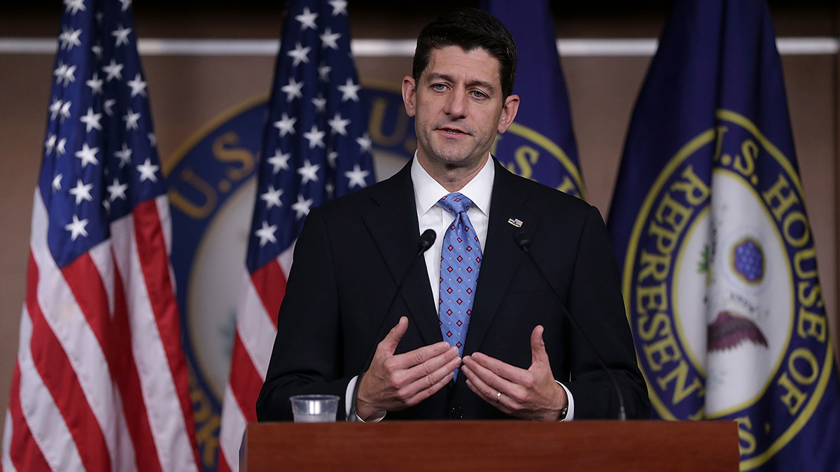 U.S. Speaker of the House Rep. Paul Ryan (R-WI) speaks during a weekly news briefing May 25, 2017, on Capitol Hill in Washington, D.C.