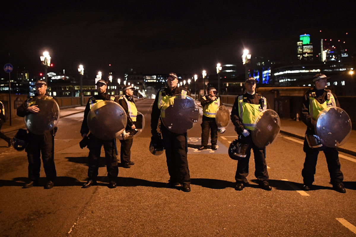 Police at the scene at Southwark Bridge after an attack on London Bridge on June 4, 2017, in London, England.