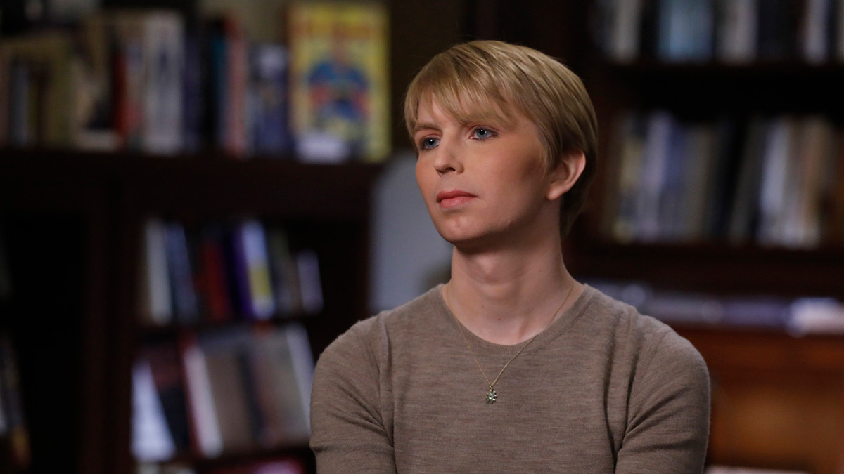 This June 8, 2017, file photo shows Chelsea Manning in her first television interview since Manning's prison release. On June 25, 2017, in New York City, Manning participated in her first Pride March since being released.