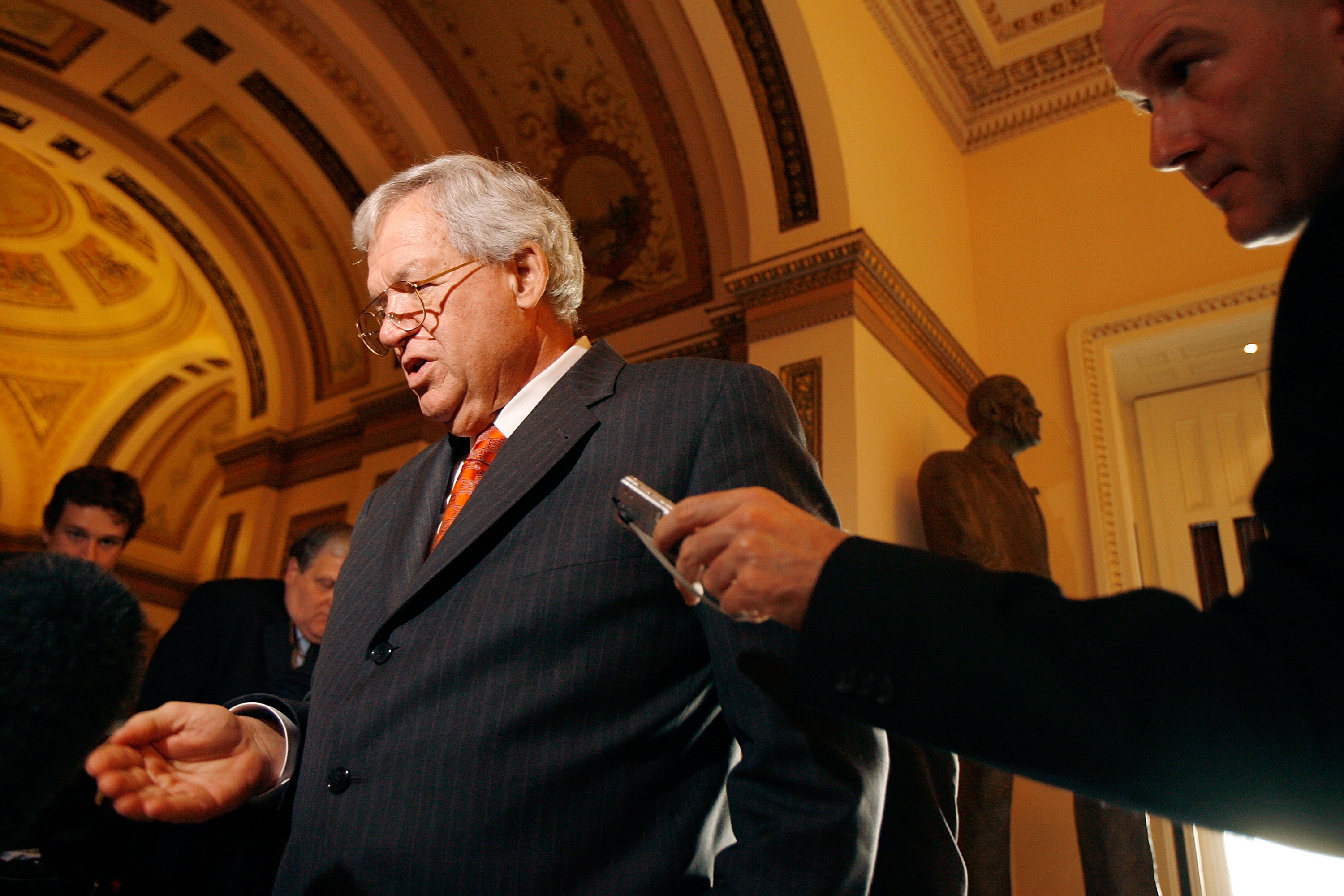 Former Speaker of the House Dennis Hastert (R-IL) speaks with reporters after delivering his farewell address to Congress November 15, 2007 in Washington, DC. Hastert was the longest-serving Republican speaker in U.S. history, and the first speaker since 1955 to remain in Congress after losing the speakership.  (Photo by Chip Somodevilla/Getty Images)