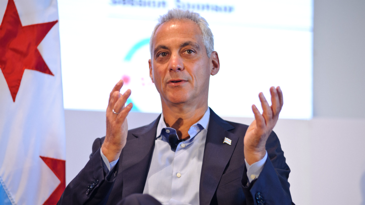 A file photo of Chicago Mayor Rahm Emanuel attending the Leaders Sport Performance Summit at Soldier Field on June 27, 2017, in Chicago, Illinois.