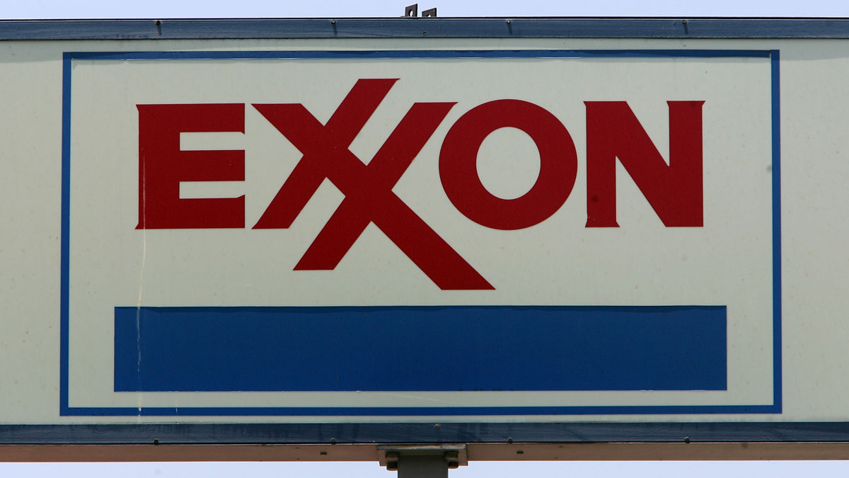 An Exxon gas station sign in West Hollywood, California.
