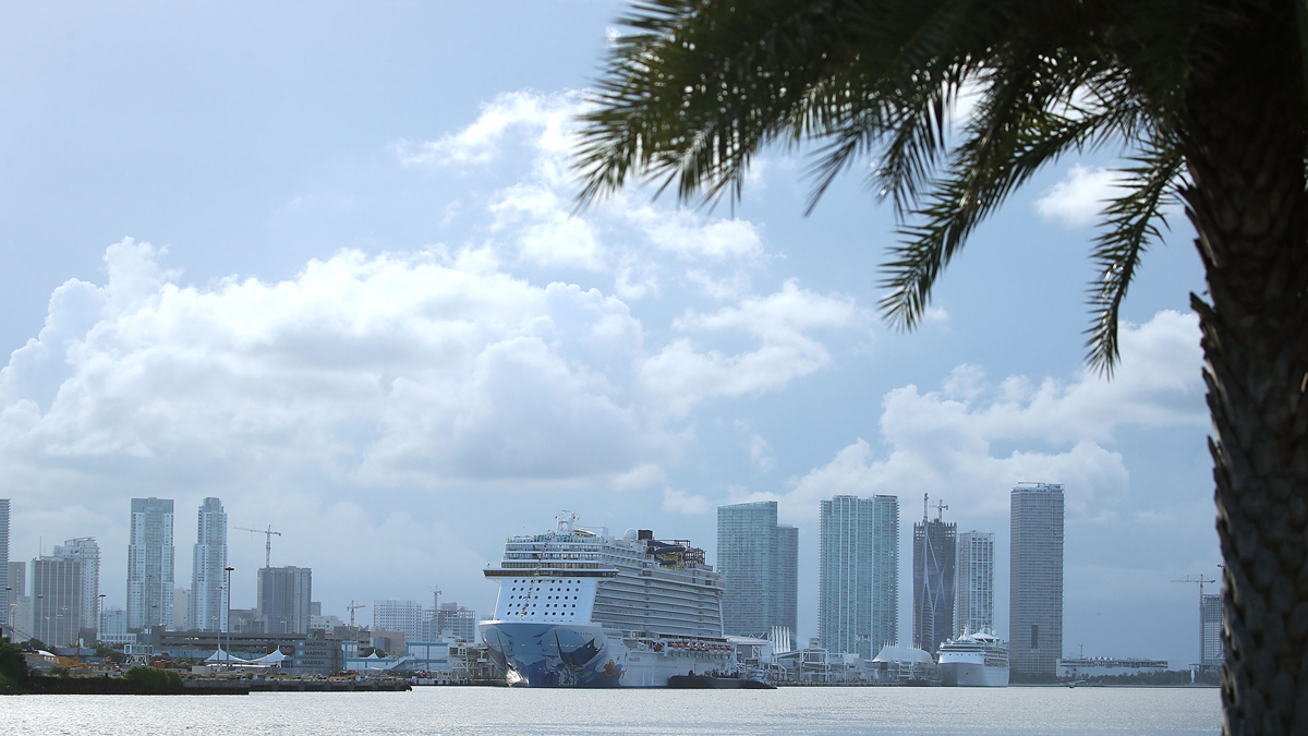 MIAMI, FL - SEPTEMBER 07: A cruise ship prepares to depart as the city prepares for the approaching Hurricane Irma on September 7, 2017 in Miami, Florida. Current tracks for Hurricane Irma shows that it could hit south Florida this weekend. (Photo by Mark Wilson/Getty Images)