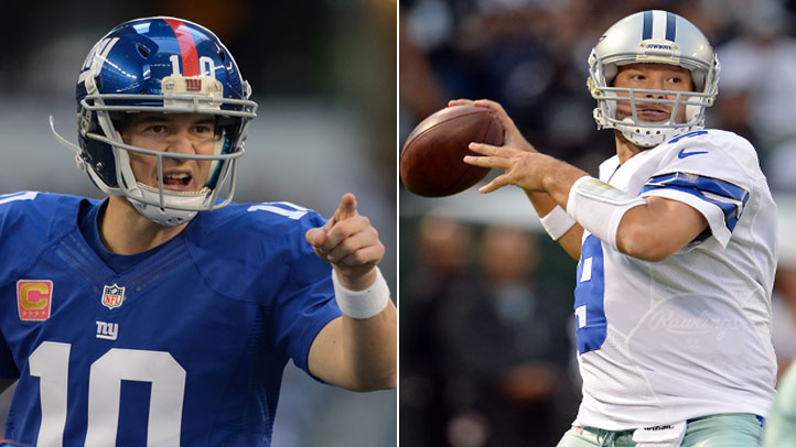 Eli Manning and the Giants take on Tony Romo and the Cowboys Sunday night in Dallas.