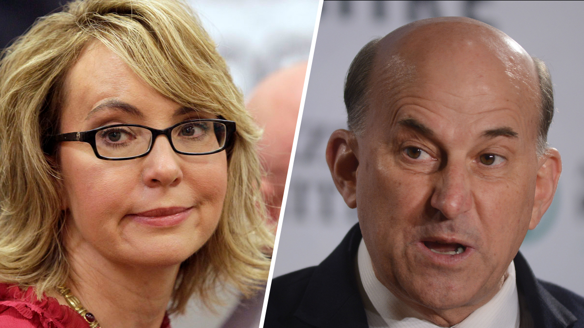 Former Arizona Rep. Gabrielle Giffords (left), seen in 2013, and Texas Rep. Louie Gohmert, seen in 2014.