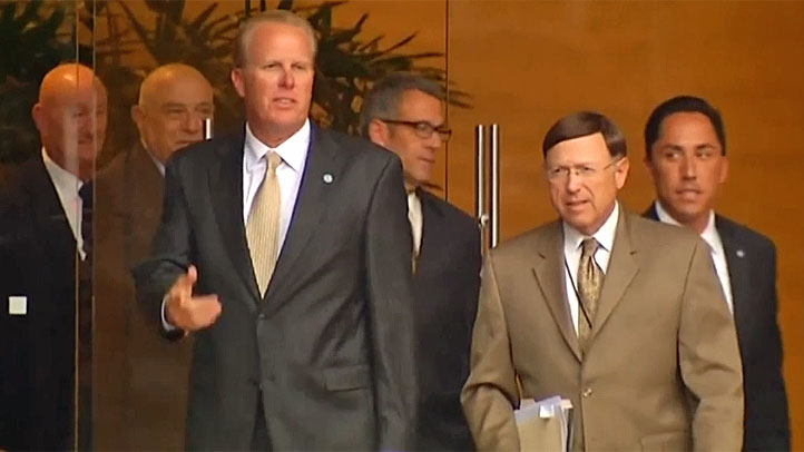 (L-R) Faulconer, Goldsmith and Gloria leave mediation on Tuesday, Aug. 20, 2013.