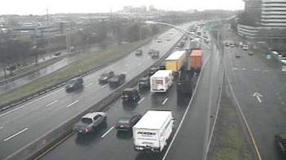 Traffic backup can be seen on I-95 in Greenwich after a pedestrian was struck and killed by a car Tuesday morning.
