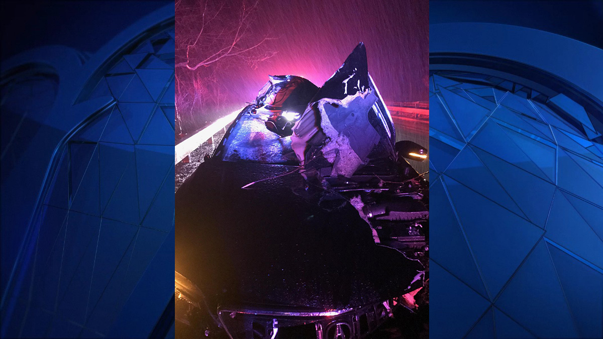 A car was heavily damaged in an accident involving a tree on the Merritt Parkway Tuesday morning.